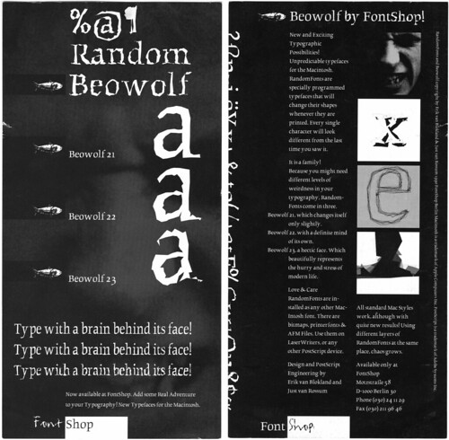 FontShop Beowolf flyer 1990 by LettError