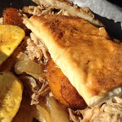 pot pie(0.0), sloppy joe(0.0), produce(0.0), meal(1.0), breakfast(1.0), pulled pork(1.0), fried food(1.0), food(1.0), dish(1.0), cheesesteak(1.0), cuisine(1.0),