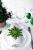 Christmas table setting in green