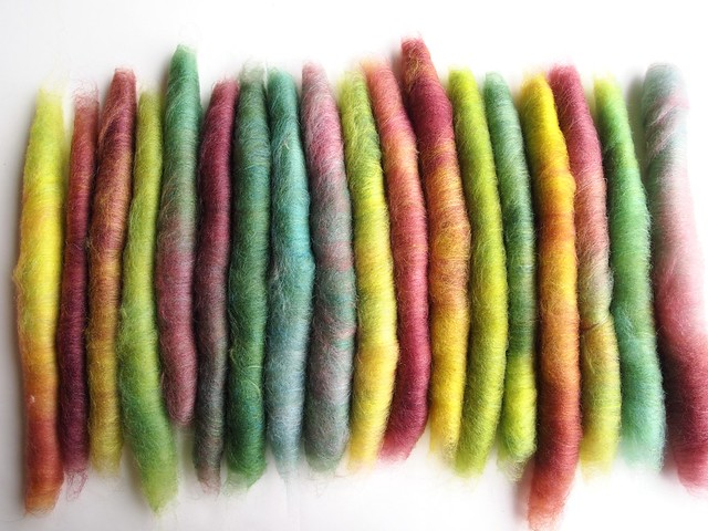 FCK-Greek Myths-fiber club-October 2012-Persephone-Rechoice-4oz-80-15Polwarth-Tussah Silk-hand carded-1