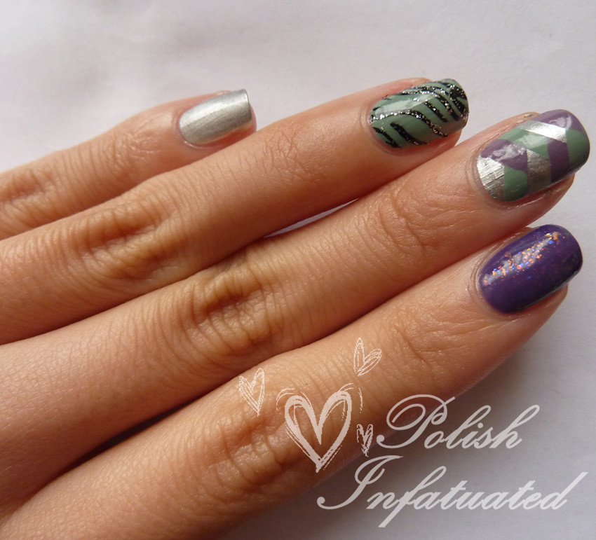 purple&green nail art mash2