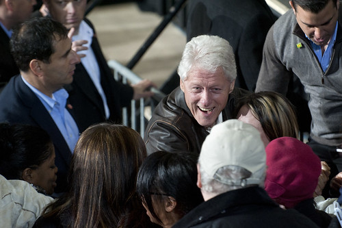 Bill Clinton Greets Obama Supporters in Bristow, Virginia