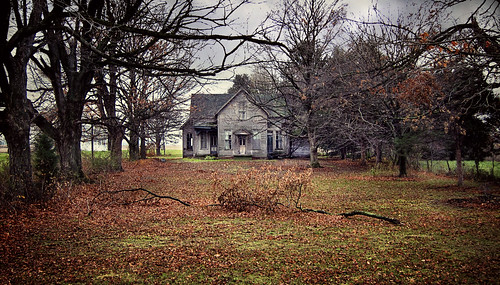 abandoned farmhouse, autumn