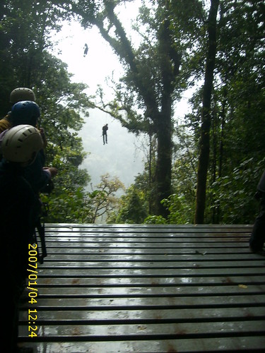 Enjoying the Tarzan swing through the Cloud Forrest in Monte Verde, Costa Rica