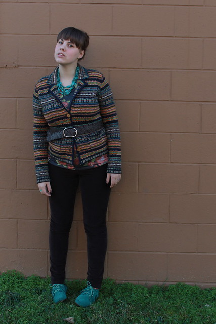 Belted outfit: leather belt, fair isle sweater blazer, brown corduroys, teal moccasins, rose-print tee, oxblood ombré nails, turquoise chevron ring