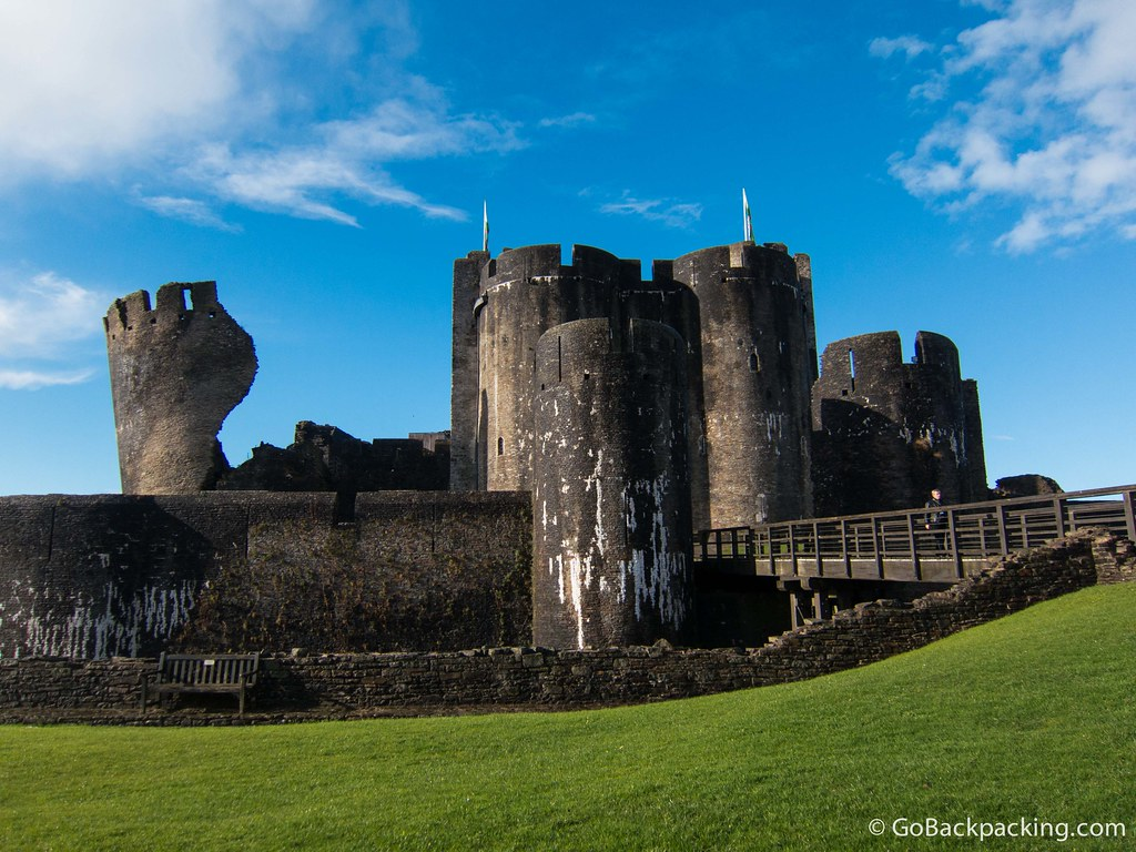 A view of Caerphilly Castle from inside the first gate