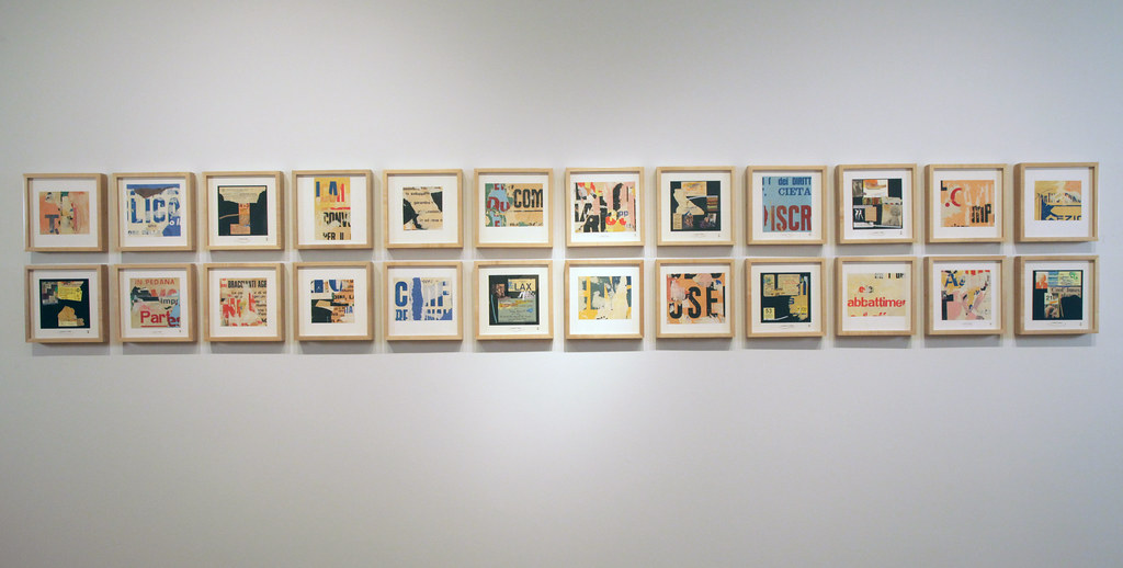 A display of Meier's framed collages in Hartell Gallery.