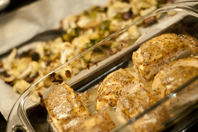 maple-mustard salmon with roasted cauliflower, brussels sprouts and mushrooms