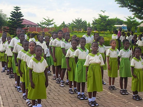 Primary School pupils at assembly at St Louis Jubilee School, Kentinkrono, Ghana