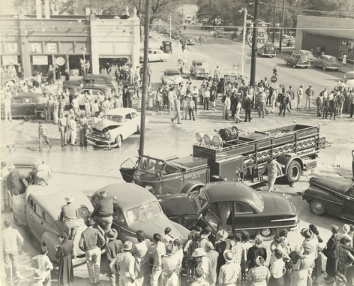 Accident involving a Station 7 service truck and a 1952 Mac truck