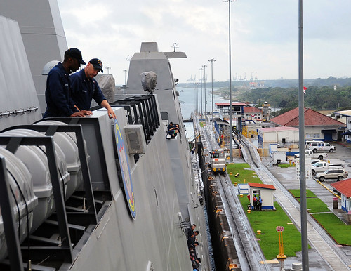 Sailors assigned p Pre-Commissioning Unit Anchorage watch as the ship passes through the Gatun lock.