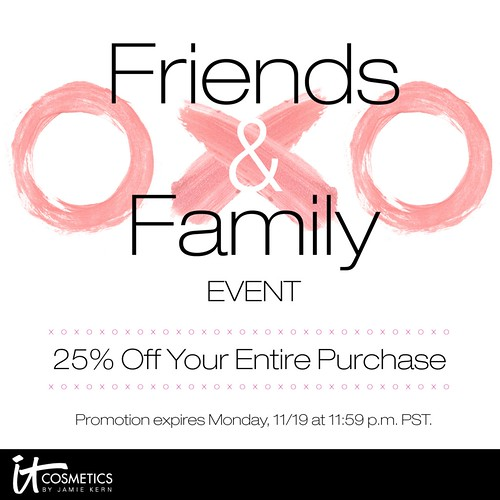 it Cosmetics Friends Family Sale 25% off discount F&F sales Bye Pores Under Eye Concealer
