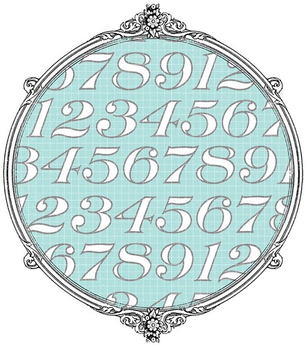 light turquoise Typography Number paper SAMPLE