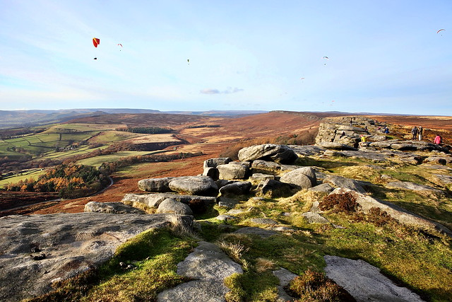peak district fun, parachuting, walking, stanage edge