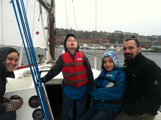 A family sailing in Seattle, WA