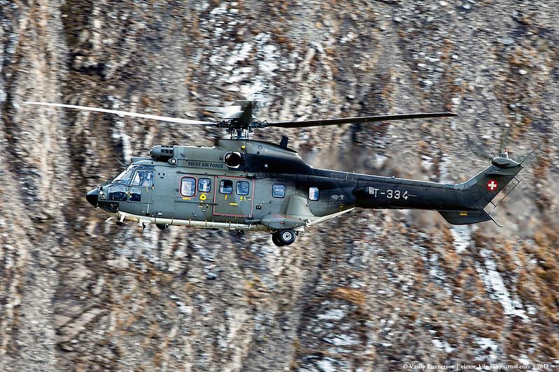 Swiss Air Force Aerospatiale AS532UL Cougar high speed pass