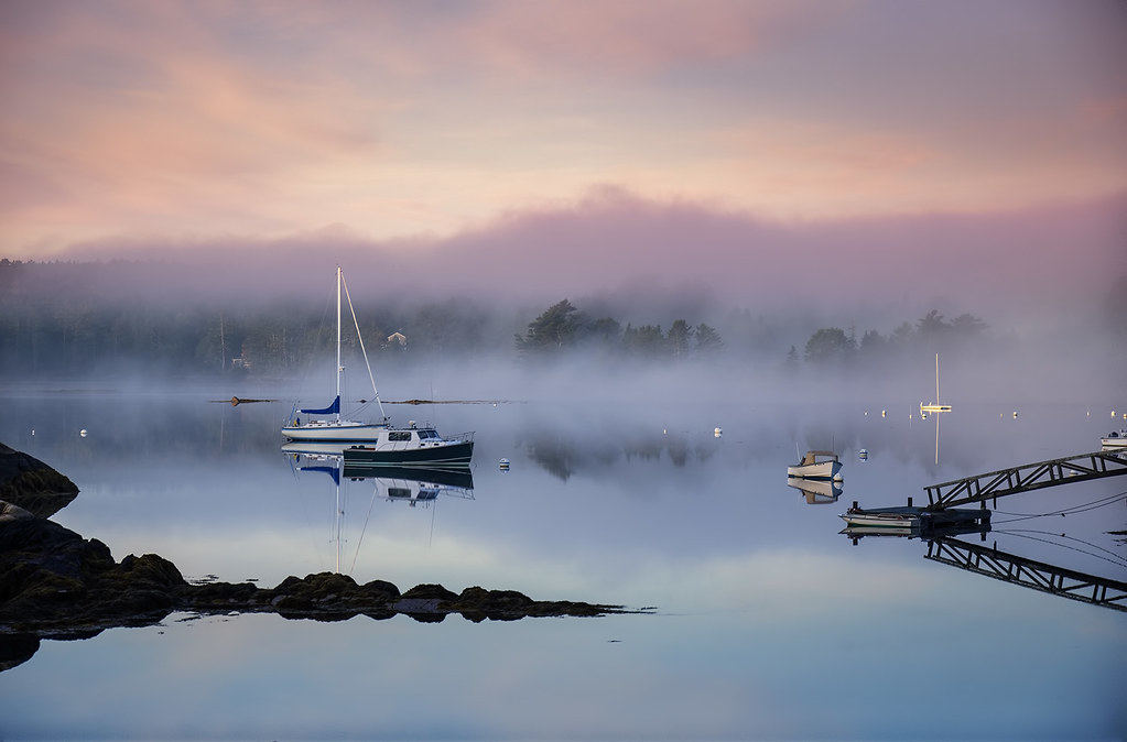 Boats on Somes Sound in early morning fog, Maine