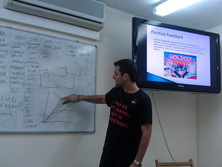 Stelios presenting a section of the course literature