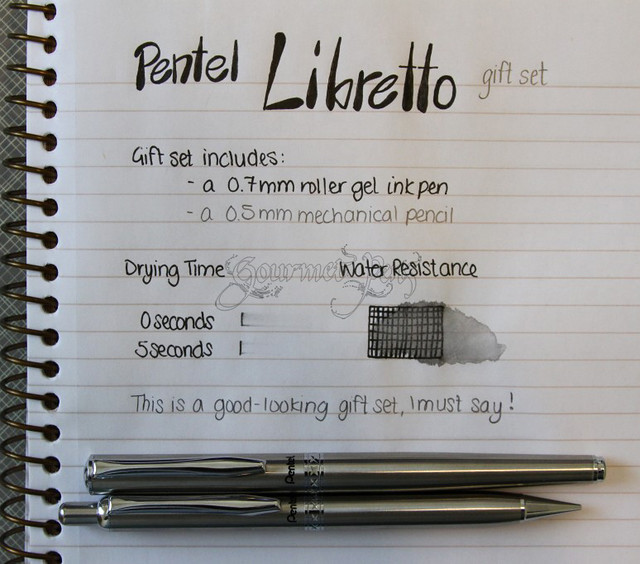 Pentel Libretto Gift Set Writing Sample