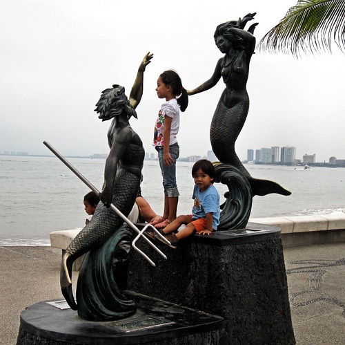 sea goddess and god and local kids
