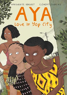 cover of Aya: Love in the City, which features three young women (Aya and two others) peering from behind a post