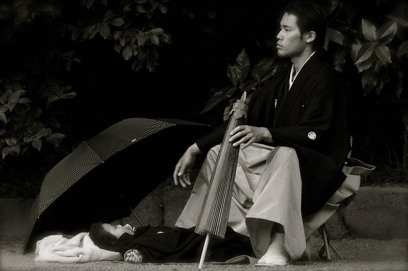 A Japanese Father With His Six Week Baby At Tsurugaoka Hachimangu Shrine