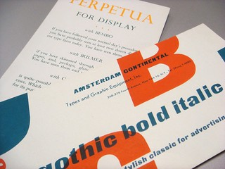 Gothic Bold Italic and Perpetua type specimen cards