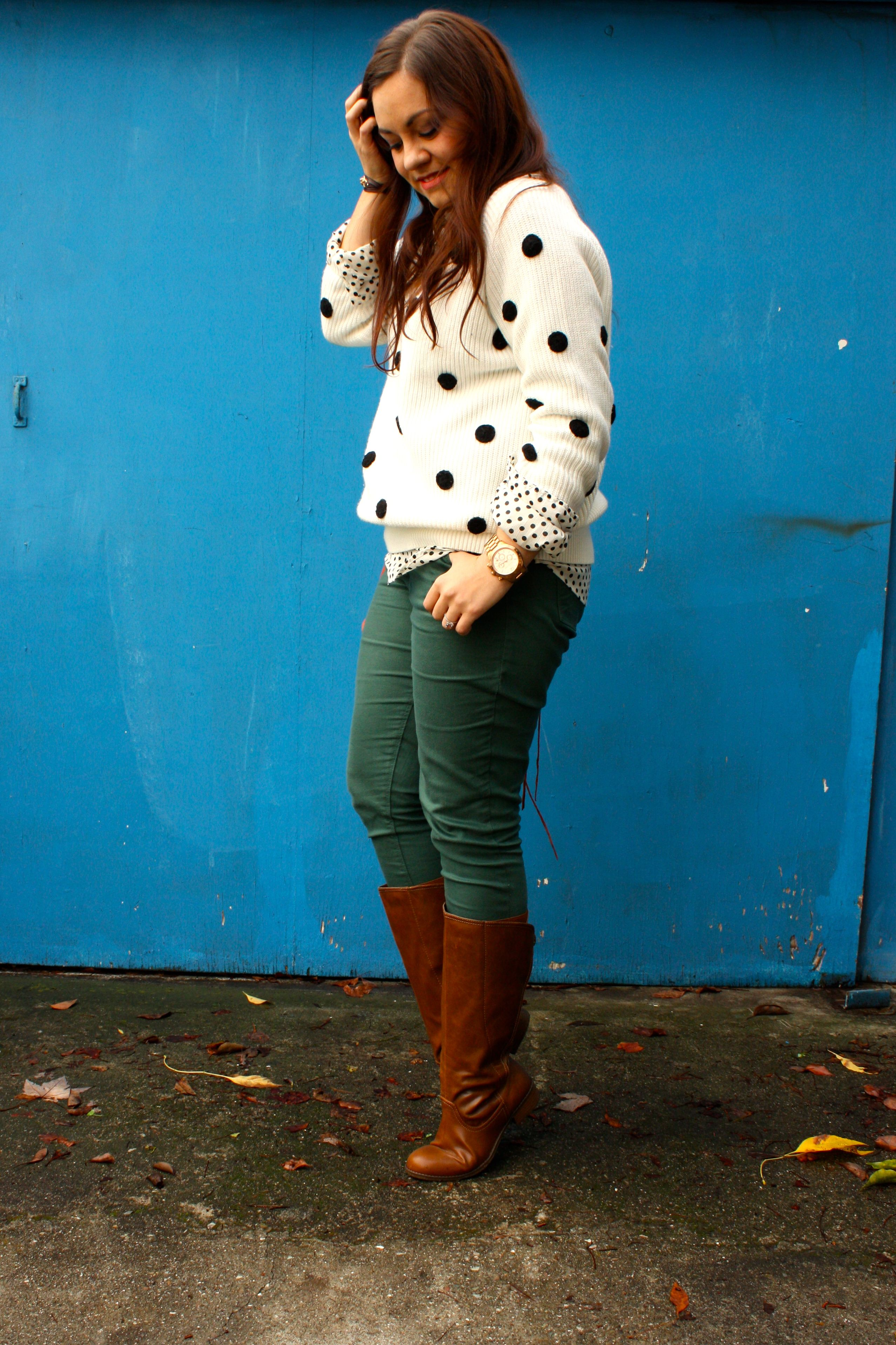 polka dot sweater and blouse - forest green jeans - congac boots - orange rebecca minkoff mac06
