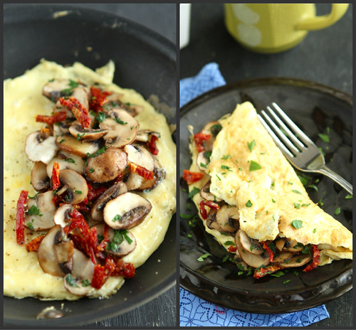 Easy Mushroom & Sun-Dried Tomato Omelet Recipe by Cookin' Canuck