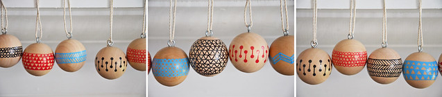 handmade holiday | painted wood ball ornaments