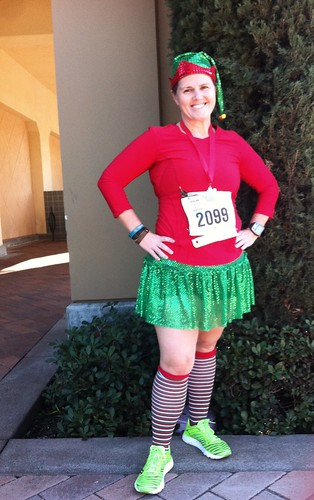 @AngryJulie at the Renegade Santa Run 2012 in a Team Sparkle Skirt, sporting an Elf Costume.