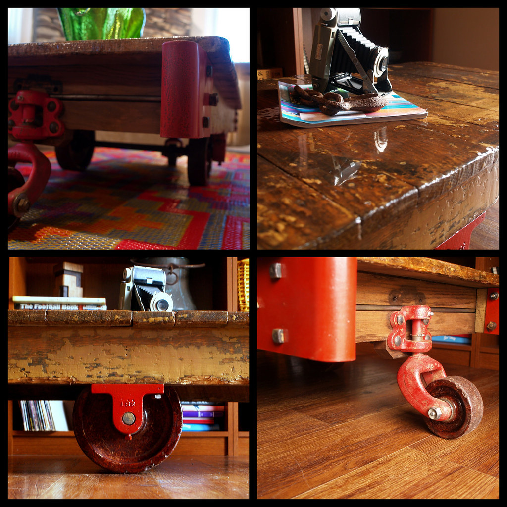 SALVAGED WOOD TABLE Vintage Industrial Factory Reclaimed Wood Cart Coffee  Table Chic Rustic Modern Furniture