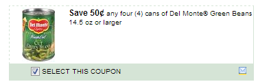 $0.50/4  Del Monte Green Beans 14.5 Oz Or Larger Coupon