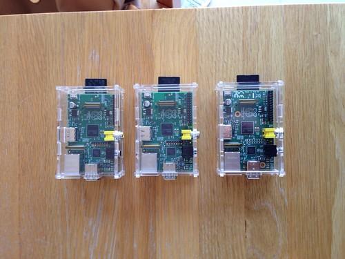 3 Raspberry Pis, in cases