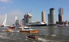 The Port of Rotterdam in front of the city's skyline