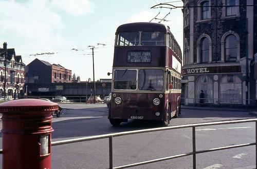 Cardiff Trolleybus KBO 957 in 1968.