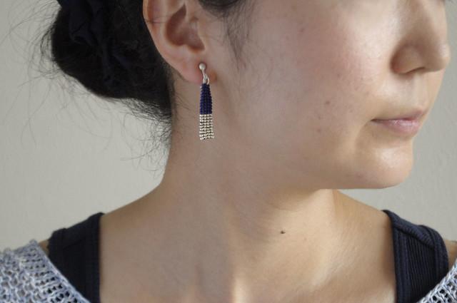 dark-blue&silver retangular earrings