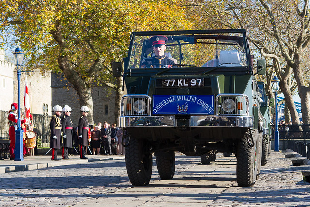 Royal Artillery landrover leaves Tower Bridge Wharf after the 62 round gun salute