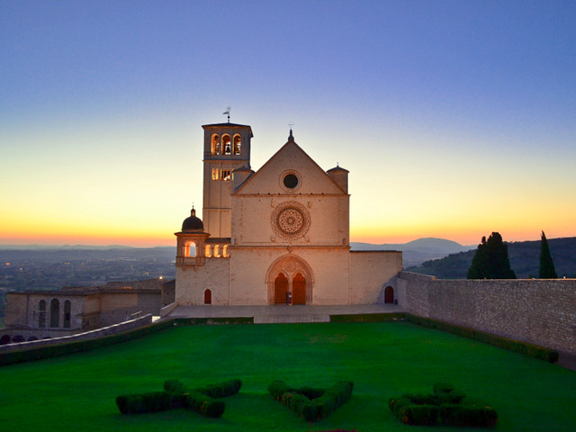 PAX, Peace at St. Francis of Assisi at sunset, Italy