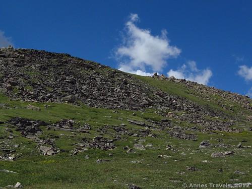 Hiking along the ridge toward Mount Rearguard, Custer National Forest, Montana
