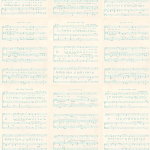 free Christmas Sheet Music LIGHT TURQUOISE  Vintage GF 12 and a half inch SQ 350dpi mel stampz