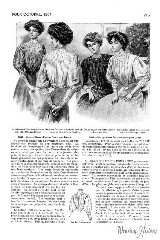 Miroir des modes october 1907 blouses wearing history for Miroir des modes value