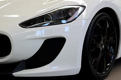 automobile(1.0), automotive exterior(1.0), wheel(1.0), vehicle(1.0), automotive design(1.0), rim(1.0), maserati granturismo(1.0), bumper(1.0), land vehicle(1.0), luxury vehicle(1.0),