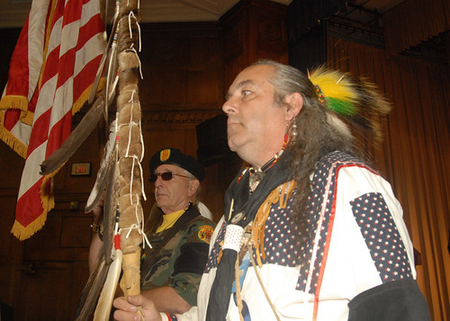 U.S. Air Force, Vietnam Odawa Nation John Egnew carries the U.S. flag in the Vietnam Era Veterans Intertribal Association's (VEVITA) color guard at USDA's Native American Heritage Month Observance in the Jefferson Auditorium at the USDA South Building in Washington, D.C. on Tuesday, Nov. 20, 2012.