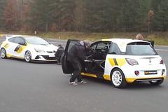 Dreharbeiten in Dudenhofen mit dem Astra OPC 'Cup' und dem ADAM 'Rallye Cup'