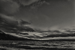Lake Tahoe at sunset -3 (b&w)