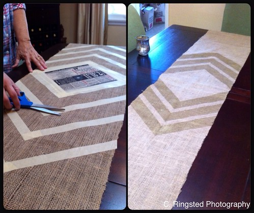 DIY: DIY Burlap & Gold Chevron Table Runner by Sanctuary-Studio