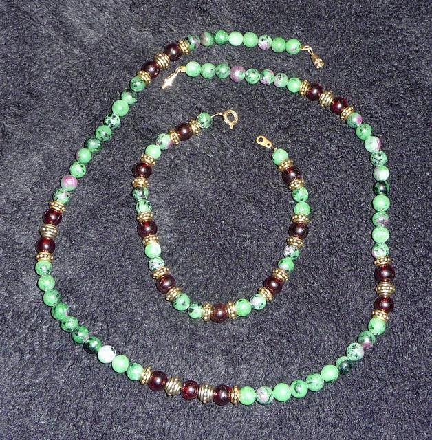 Ruby Zolite and Garnet Necklace Bracelet