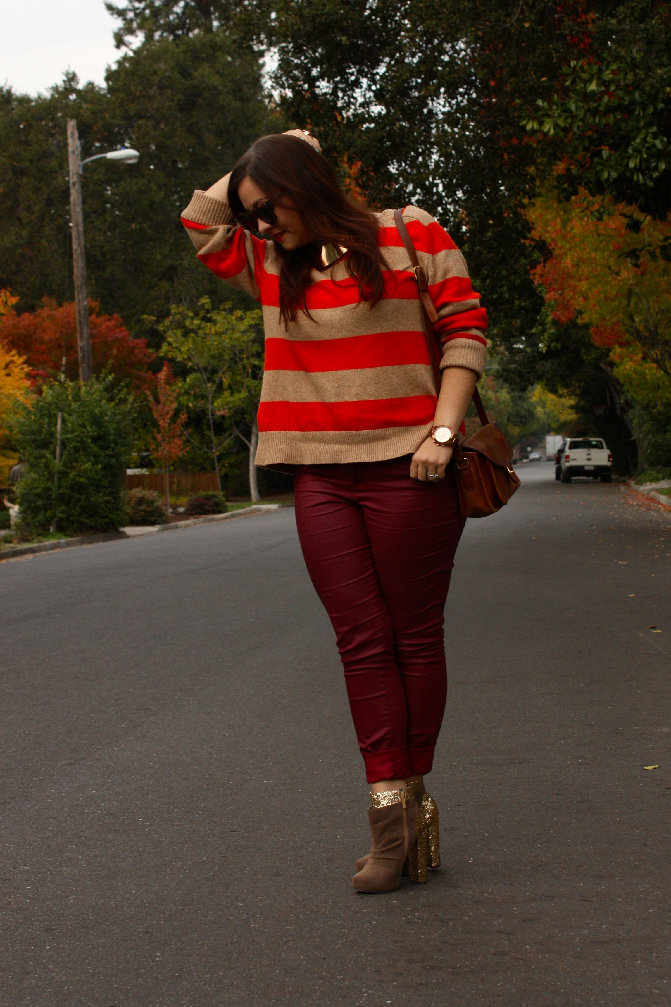 burgundy waxed jeans with orange striped lands end sweater and brown coach bag plus glitter booties04
