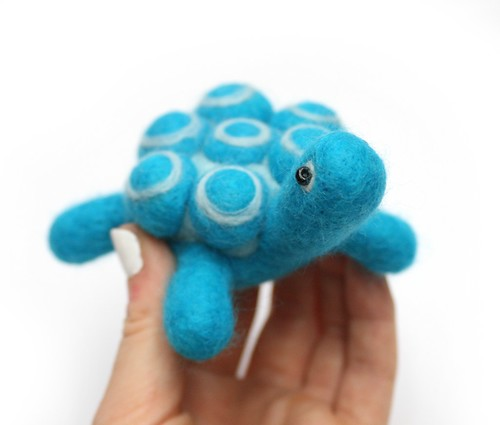 Blue Felted Turtle